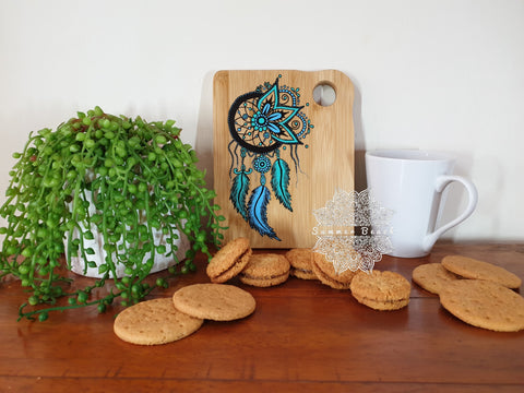 Painted Dream Catcher Wooden Biscuit / Sandwich Board