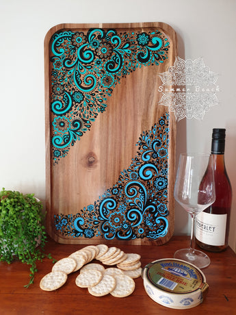 Hand Painted Mandala Wooden Serving Boards (2 Colour Choices)
