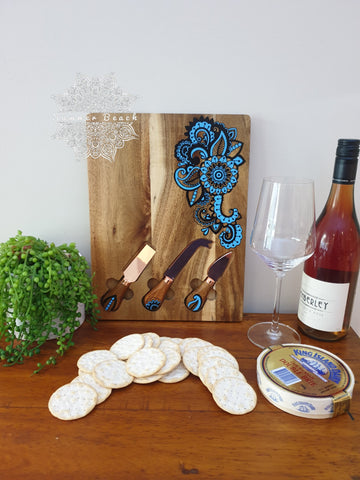 Hand Painted Mandala Wooden Serving Boards (6 Colour Choices)