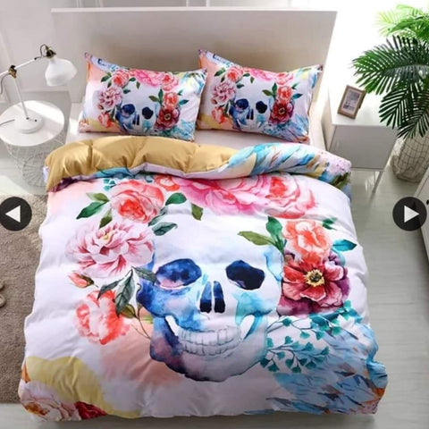 Flower Skull Bed Set