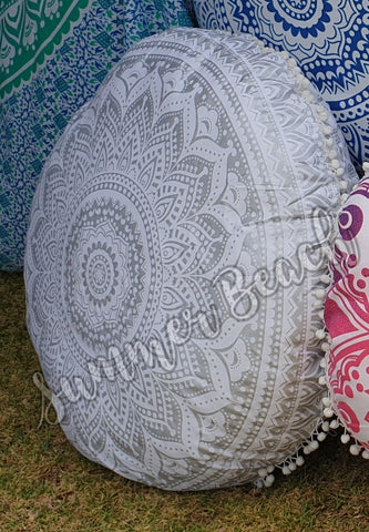Floor Cushion Cover - White & Silver Ombre' - FC15