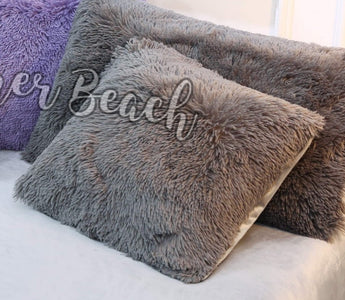 Grey Plush Fluffy European Pillowcases Only - 1 Pair