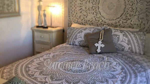 White & Silver Ombre' Bed Set - Indian Cotton