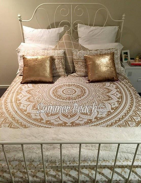 White & Gold Ombre' Bed Set - Indian Cotton