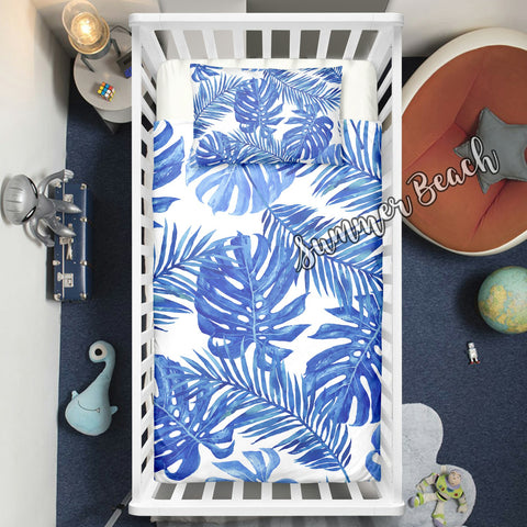 "Tropical Blue Monstera Cot Doona Cover Bed Set - ""Made To Order"" Will take 2 - 3 weeks to arrive - Cotton"