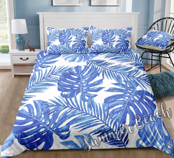 Tropical Blue Monstera Bed Set - New