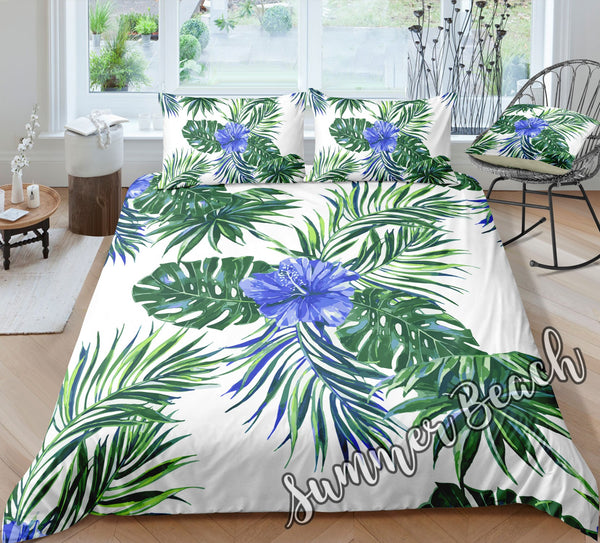 Tropical Hibiscus Blue Bed Set - New