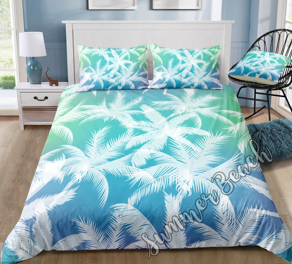 Tropical Blue Palms Bed Set - New