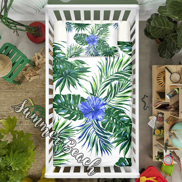 "Tropical Hibiscus Blue Cot Doona Cover Bed Set - ""Made To Order"" Will take 2 - 3 weeks to arrive - Cotton"