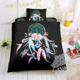 Dream Catcher Feathers Black Bed Set