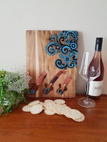 Hand Painted Wooden Swirl Serving Boards (4 Colour Choices)