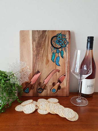 Hand Painted Mandala Dreamcatcher Wooden Serving Boards (4 Colour Choices)