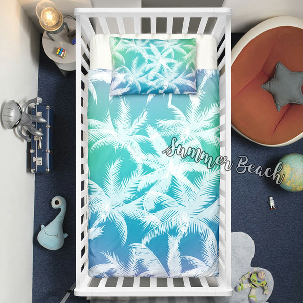 "Tropical Blue Palms Cot Doona Cover Bed Set - ""Made To Order"" Will take 2 - 3 weeks to arrive - Cotton"