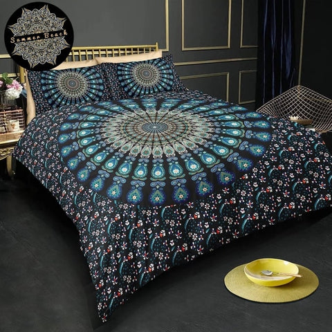 Navy Blue Peacock Bed Set