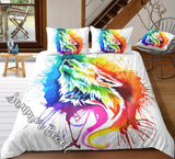 Painted Howling Wolf Bed  Set - New