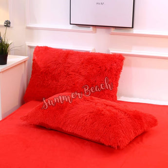 Red Plush Fluffy Pillow Cases Only - 1 Pair