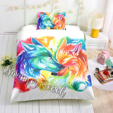Painted Love Wolves Bed  Set - New