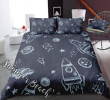 Space Rockets Bed Set - New