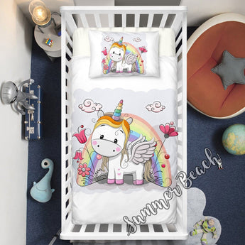 Little Wings Unicorn Cot Doona Cover Bed Set