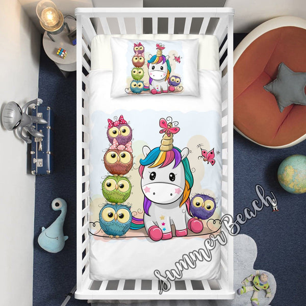 Unicorn Hoot Cot Doona Cover Bed Set