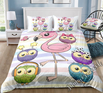 Flamingo & Friends Bed Set - New