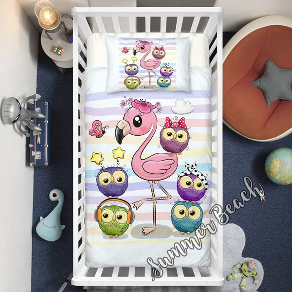 Flamingo & Friends Cotton Cot Doona Cover Bed Set