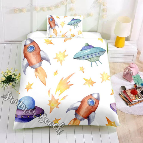 Space Ships & Rockets Bed Set - New