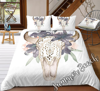 Tropical Bull Skull Bed Set - New