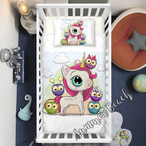 Unicorn & Friends Cot Doona Cover Bed Set