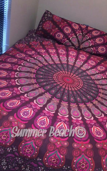 Pink Peacock Bed Set - Indian Cotton