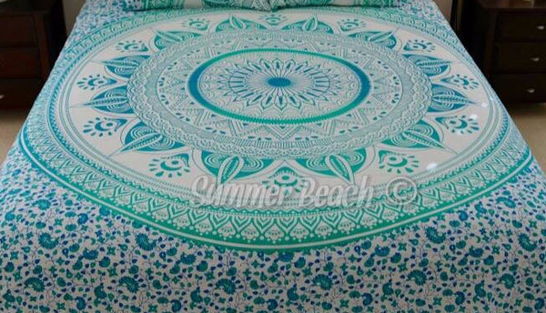 Square Mandala - Green Star Ombre' - SQM14