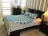 Blue & Gold Peacock Bed Set - B35
