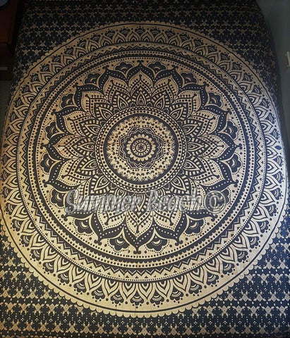 Square Mandala - Black & Gold Ombre' - SQM11