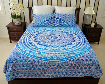 Blue Ombre' Bed Set - Indian Cotton
