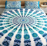 Blue & White Peacock Bed Set - B7