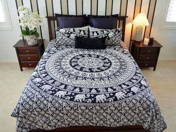 Black & White Elephant Bed Set - B9