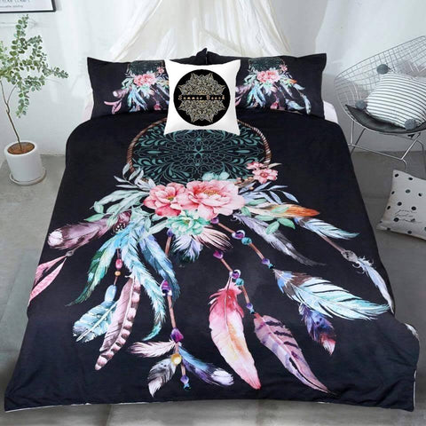Dream Catcher Feathers Black Bed Set - BED14