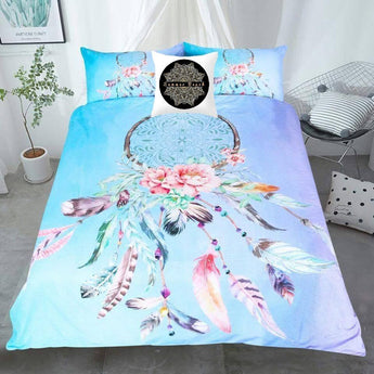 Dream Catcher Feathers Blue Bed Set