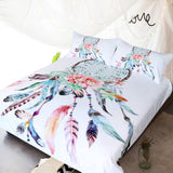 Dream Catcher Feathers White Bed Set