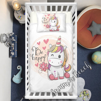 Happy Unicorn Cot Doona Cover Bed Set