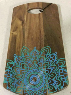 Hand Painted Wooden Mandala Serving Boards - Board25