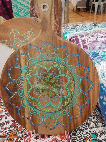 Hand Painted Wooden Mandala Serving Boards - Board30
