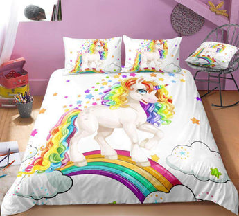 Rainbow Star Unicorn Bed Set