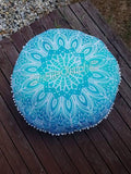 Floor Cushion Cover - Aqua Blue Galaxy - FC10