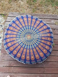 Floor Cushion Cover - Orange & Navy Blue - FC11