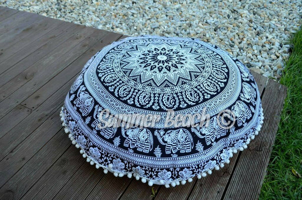 Floor Cushion Cover - Black & White Elephant - FC2