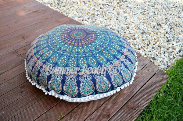 Floor Cushion Cover - Navy Blue Peacock Mandala - FC4
