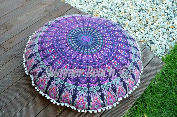 Floor Cushion Cover - Pink & Purple Peacock Mandala - FC5