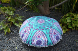 Floor Cushion Cover - Teal Paisley Mandala - FC8