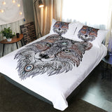 Trible Wolf White Bed Set - BED46 - New Product
